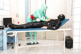 European rubber freak Latex Lucy taking cumshot on tongue after blowjob