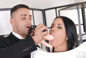 European pornstar Anissa Kate getting butt banged by strapon cock extender