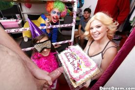 Coed Gia Paige and blindfolded gf suck cock and lick twat at birthday party