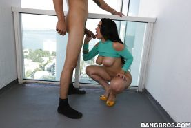 Buxom Latina first timer Ada Sanchez giving blowjob in high heels
