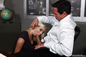 Busty office slut Britney Beth gets fucked hardcore and facialized