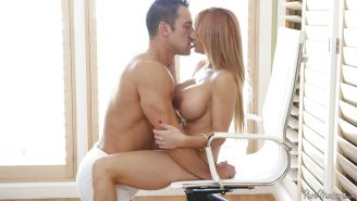 Ball licking action with a big tits milf lady Alyssa Lynn and her bf