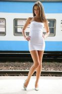 Sexy teen Caprice in tight dress spreading naked pussy outdoors in heels