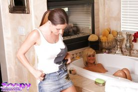 Ravishing lesbian vixens licking and toying each other's love holes