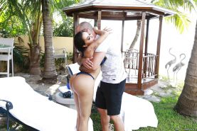 Busty Latina pornstar Lela Star exposing her big round butt outdoors