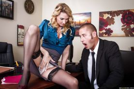 Lewd business lady Blake Rose gets shagged at her office desk
