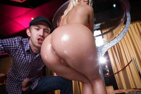 Blonde Euro stripper Jessie Volt flaunting nice ass before taking anal fuck