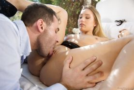 Pornstar AJ Applegate giving blowjob and taking internal cumshot outdoors