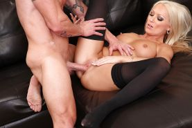 Sexy blonde in stockings Diana Doll gets fucked and jizzed over her ass