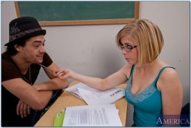 Seductive coed in glasses Penny Pax gets nailed hardcore in the class