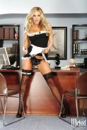 Dainty maid in stockings Samantha Saint slipping off her uniform and panties