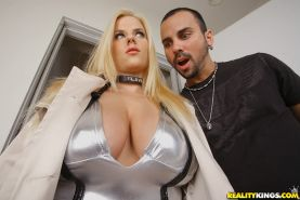 Blonde girl with big tits Haley Cummings giving a titjob and fucking