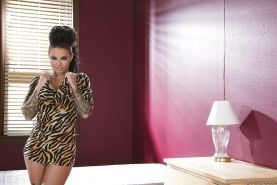 Tattooed coed Christy Mack gets rid of her tiny dress and lingerie