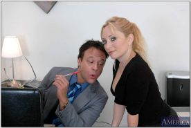 Big titted office babe Aiden Starr stripped to stockings and fucked