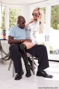 Stunning blond mom Nikki Benz giving black cock a blowjob in stripper boots