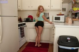 Petite blonde teenager Alina West posing non nude in short shorts