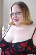 Obese older woman Shaela toying pussy with long ribbed dildo with glasses on