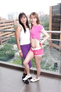 Cute lesbian teens Rosa C & Claudia O stripping and licking each other