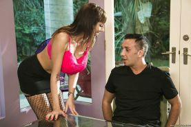 Juggy MILF in stockings Alia Janine gives head and gets shafted hard