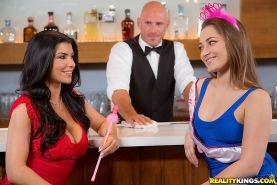 Dani Daniels and Romi Rain having fun with a handsome barman