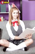 Teen solo girl Rachel James flashing upskirt schoolgirl panties