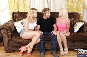 Two hot blondes Anikka Albrite and Mia Malkova blowjob a guy
