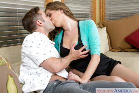 Big tits of Alex Chance makes handsome guy shoot sperm uncontrollably
