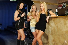 Steaming hot european vixens perform a sizzling lesbian threesome scene