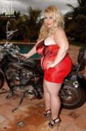 Sexy bbw biker babe Cassie Blanca caressing her shaved cunt and fat juggs