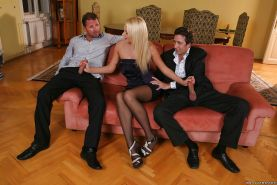 Cute milf in black stockings Ivana Sugar gets two cocks in her holes
