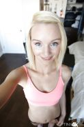 Close up posing session features blonde teen babe Sammie Daniels