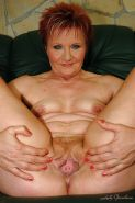 Redhead granny with tiny tits shows her shaved cunt and her hot ass #51018592