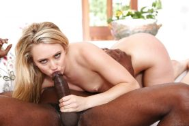 Blonde chick AJ Applegate riding big black cock for cumshot on face finale