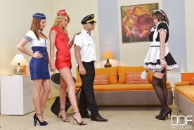 Uniformed maids Cinthia Doll, Ivana Sugar and Hannah Sweet fucking