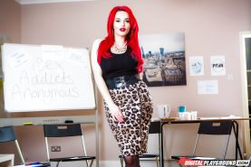 Redhead Jasmine James loosing big butt from cougar print skirt in office
