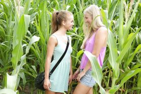 Lesbian outdoor scene with blonde chicks Bella Baby and Cayla Lyons