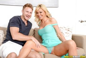 Busty blonde mom Sasha Sean having bald cunt ate out before getting fucked