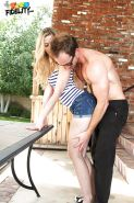 Abigaile Johnson is pleasing her boyfriend with a blowjob and handjob