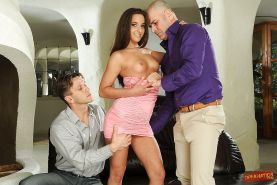 Foxy babe Amirah Adara is into groupsex with two horny guys