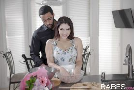 Brunette girl Valentina Nappi having nice tits freed before interracial sex