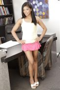 Foxy latina office babe Emy Reyes stripping off her clothes