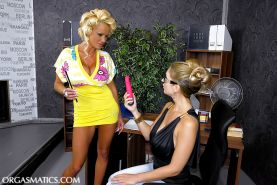Sharon Pink is into hot lesbian action with her friend and their toys