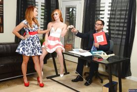 Office threesome with spicy redheads Alex Tanner & Dani Jensen