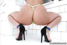 Flexible babe Abella Danger exposing big butt and gaped asshole outdoors