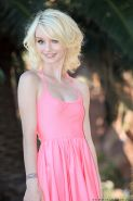 Tiny titted skinny teen Sammie Daniels doffs short dress to pose naked outside