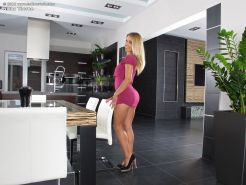 Gorgeous blonde Nikky Thorne in heels toying tight pussy with dildo in office