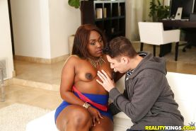 Fat black girl Miss Mary Jane exhibiting big booty during hardcore fuck