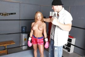 Stunning babe with perfect tits Nikki Delano fucked by her boxing coach