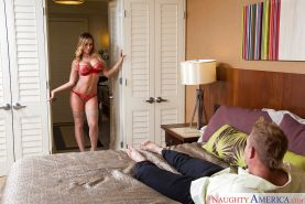 Busty blonde escort Destiny Dixon riding on top of cock with bouncy boobs