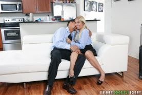 Busty blonde teen Kimmy Fabel taking cumshot on pussy from big cock